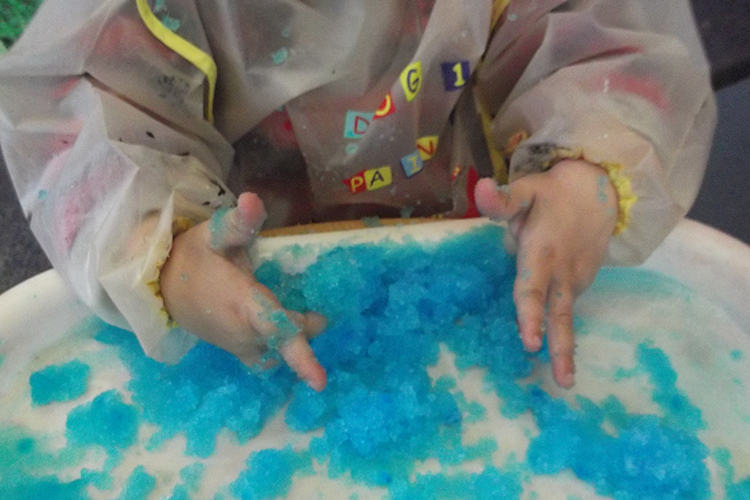 Playing with coloured jelly